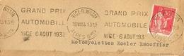 France. Flamme. Nice.Grand Prix Automobile. 18/VII/33 - Marcophilie (Lettres)