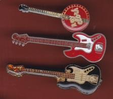 59565-lot De 3 Pin's.Guitares. - Musique