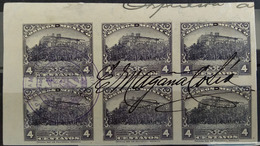 MEXICO 1925 4c. CHAPULTEPEC Imperf. Proof In PURPLE Block Of 6, Signed, See Img. - Mexico