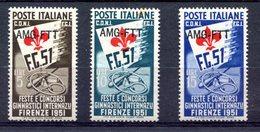 Z1550 TRIESTE AMG-FTT 1951 Ginnici, MNH**, Serie Completa, Valutazione Sassone € 40, Ottime Condizioni - Nuovi