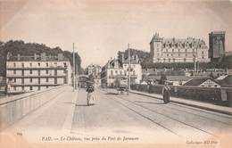 64 Pau Le Chateau Vue Prise Du Pont De Jurançon Cpa Carte Animée Attelage - Pau