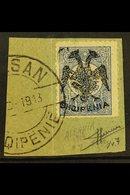 "1913 1pi Ultramarine 'Double Eagle' Overprint (Michel 7, SG 7), Very Fine Used On Piece Tied By ""Elbasan"" Cds Cancel, Ex - Albania"