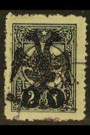 1913 2pi Blue-black, Eagle Ovptd In Black, Mi 8, Fine Used, Signed Bloch. For More Images, Please Visit Http://www.sanda - Albania