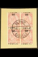 """1914 20pa On 10q Carmine & Rose """"INVERTED SURCHARGE"""", SG 42a, Very Fine Used Block Of 4 """"on Piece"""" With Central """"VLONE""""  - Albania"""