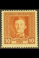 BOSNIA AND HERZEGOVINA 1917 10h Orange-brown Emperor Charles Perf 11½ (Michel 127 B, SG 419a), Fine Never Hinged Mint, V - Austria
