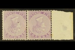 1874 6d Dull Mauve, Watermark Inverted, SG 7w, Mint Horizontal Marginal Pair, One Unmounted, Light Age Marks To Back. Fo - Bermuda