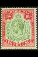1918-22 10s Green Andcarmine / Pale Bluish Green, Wmk BREAK IN SCROLL, SG 54a, Never Hinged Mint. Rare In This Conditi - Bermuda