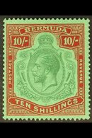 1924-32 10s Green & Red/pale Emerald, SG 92, Very Fine, Lightly Hinged Mint For More Images, Please Visit Http://www.san - Bermuda