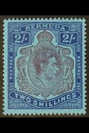 1938-53 2s Purple & Blue On Deep Blue Perf 14 Ordinary Paper With GASH IN CHIN Variety, SG 116cf, Very Fine Mint, Very F - Bermuda