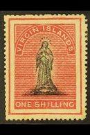 1868 1s Black And Rose Carmine On White Paper, SG 21 (position 13), Fine Mint, Signed Brun. For More Images, Please Visi - British Virgin Islands