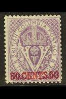 1868-71 50c Mauve Perf 14, SG 32, Very Fine Mint. Lovely Colour. For More Images, Please Visit Http://www.sandafayre.com - British Columbia