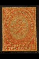 1860 2d Orange-vermilion, SG 10, Unused Without Gum, Four Small Margins. CAT £600 For More Images, Please Visit Http:// - Newfoundland And Labrador