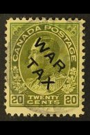 "1915 20c Olive Green ""War Tax"" Overprinted, SG 226, Used For More Images, Please Visit Http://www.sandafayre.com/itemdet - Canada"