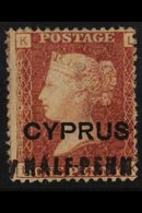 """1881 (Feb) ½d On 1d Red, SG 7, Plate 201, Variety """"HALF-PENN"""" With Part Of """"Y"""" At Left, Unused With Small Part Gum. For  - Cyprus"""