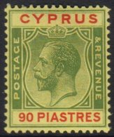 1924-28 90pi Green And Red On Yellow SG 117, Very Fine Mint.  For More Images, Please Visit Http://www.sandafayre.com/it - Cyprus