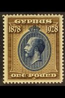 1928 50th Anniversary Of British Rule £1 Blue And Bistre-brown, SG 132, Very Fine Mint, Extremely Lightly Hinged. For Mo - Cyprus