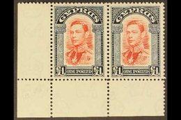 1938 KGVI Definitive £1 Scarlet And Indigo, SG163, Lower Left Corner HORIZONTAL PAIR, Never Hinged Mint. Lovely! For Mor - Cyprus