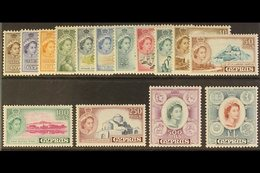 1955-60 Definitives Complete Set, SG 173/87, Never Hinged Mint. (15 Stamps) For More Images, Please Visit Http://www.san - Cyprus