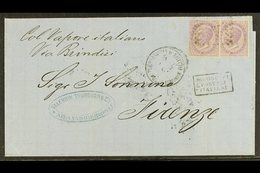 "1867 (3 Dec) Cover Endorsed ""Col Vapore Italiano / Via Brindisi"" Sent From Alexandria To Firenze, Bears Two Italian 60c  - Egypt"