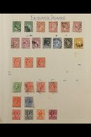 1891-1962 USED COLLECTION On Leaves, Includes 1891-1902 Vals To 6d, 1921-28 Vals To 2½d, 1929-37 Vals To 6d, 1933 1½d &  - Falkland Islands