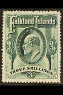 1904 3s Green Ed VII, SG 49, Very Fine Mint. For More Images, Please Visit Http://www.sandafayre.com/itemdetails.aspx?s= - Falkland Islands