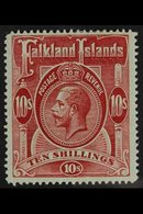 1912 10s Red On Green, Geo V, SG 68, Very Fine Mint. For More Images, Please Visit Http://www.sandafayre.com/itemdetails - Falkland Islands