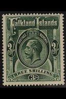 1921 3s Green, Wmk Script CA, Geo V, SG 80, Very Fine Mint. For More Images, Please Visit Http://www.sandafayre.com/item - Falkland Islands