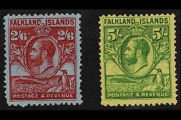 """1929 2s 6d And 5s """"Whale And Penguin"""", SG 123/4, Fine Mint. (2 Stamps) For More Images, Please Visit Http://www.sandafay - Falkland Islands"""