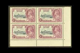 1935 1s Slate & Purple Jubilee, SG 142, Never Hinged Mint Lower Right Corner BLOCK Of 4, Very Fresh. (4 Stamps) For More - Falkland Islands