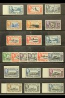 1938-50 Complete Definitive Set, SG 146/163, Fine Mint, Includes Additional Shades For 1d, 2d, And 1s, And With Many Val - Falkland Islands