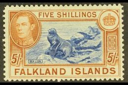 1938-50 KGVI Definitive 5s Steel Blue And Buff-brown (thin Paper), SG 161d, Never Hinged Mint. For More Images, Please V - Falkland Islands