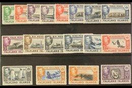 1938-50 KGVI Pictorial Definitives Complete Set, SG 146/63, Very Fine Mint. (18 Stamps) For More Images, Please Visit Ht - Falkland Islands