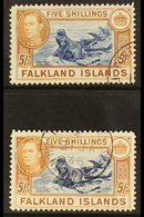 1938-50 KGVI 5s Blue & Chestnut, SG 161 & 5s Indigo & Pale Yellow Brown, SG 161b, Very Fine, Cds Used (2 Stamps) For Mor - Falkland Islands