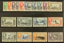 1938-50 Pictorials Set Complete, SG 146/163, Very Fine Lightly Hinged Mint (18 Stamps) For More Images, Please Visit Htt - Falkland Islands