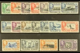 1938-50 Pictorials Complete Set, SG 146/63, Very Fine Mint, Very Fresh. (18 Stamps) For More Images, Please Visit Http:/ - Falkland Islands