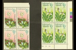 1974 Flowers Definitive ½d And 2d With Watermark Upright, SG 293/94, Never Hinged Mint Marginal BLOCKS OF FOUR. (2 Block - Falkland Islands