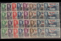 1944-45 All Four Overprinted Sets, SG A1/8, B1/8, C1/8 & D1/8, Never Hinged Mint (32 Stamps) For More Images, Please Vis - Falkland Islands