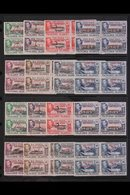 1944-45 NHM BLOCKS OF 4. An Attractive Collection Of Overprinted Sets For All Four Dependencies, SG A1/D8, In NEVER HING - Falkland Islands