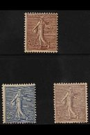 1903 MINT TRIO. 20c Purple-brown, 25c Blue & 30c Lilac Sower (Yvert 131/33, SG 317/19), Fine Mint. (3 Stamps) For More I - France