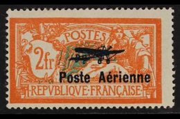 """1927 2f Red & Blue-green Air """"Poste Aerienne"""" Overprint (SG 455, Yvert 1), Mint, Centred To Lower Left, Very Fresh, Cat  - France"""