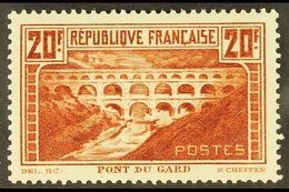 """1929-31 20fr Red Brown, """"Pont Du Gard"""", Perf 13½ X 13, SG 475 Or Yvert 262A, Fine Mint, Well Centred. For More Images, P - France"""