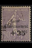 """1931 VARIETY 50c+25c Pale Violet Sinking Fund Overprint WITHOUT DOT OVER """"I"""" Variety, Yvert 276a, Lightly Used & Seldom  - France"""