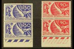 1936 1936 90c Carmine & 1.50f Ultramarine Exhibition Top Values (SG 559/60, Yvert 326/27), Superb Never Hinged Mint Marg - France