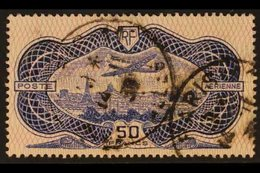 1936 50f Ultramarine & Rose Air Aircraft Over Paris (Yvert 15, SG 541), Very Used With Two Cds Cancels. For More Images, - France