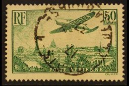 1936 50f Yellow-green Air Aircraft Over Paris (Yvert 14, SG 540), Very Fine Cds Used, Fresh. For More Images, Please Vis - France