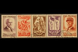 1943 (June) National Relief Fund Horizontal SE-TENANT STRIP Of 5 (Yvert 580A, SG 780a), Superb Cds Used, Very Fresh. (5  - France