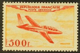 1954 500f Scarlet & Yellow-orange Air Aircraft (SG 1196, Yvert 32), Never Hinged Mint, Fresh. For More Images, Please Vi - France