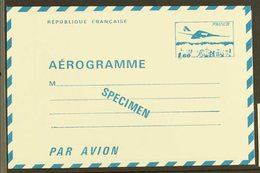 1977 1.60f Concorde SPECIMEN Aerogramme Special Printing For Cours D'Instruction (post Office Training Schools) Printed  - France