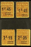 PARCEL POST 1928-29 'Apport A La Gare' Surcharges Complete Set, Yvert 88/90, Never Hinged Mint, Fresh. (4 Stamps) For Mo - France
