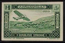 """SYRIA 1934 1pi Green(Farman F.190 Over Bloudan), Variety """"IMPERFORATE"""" Yv 61a, Maury 62a, Never Hinged Mint. For More I - France (former Colonies & Protectorates)"""